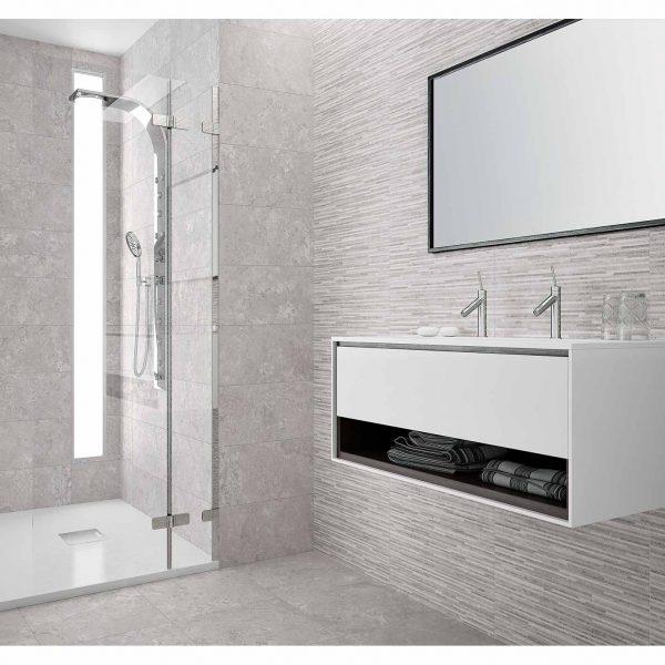 Bathrooms AMBIENTE PROVENCE GREY RELIEVE SILICA GREY 25X60 BAÑO